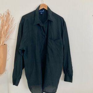 Vintage Silk Soft Black Button Down Blouse